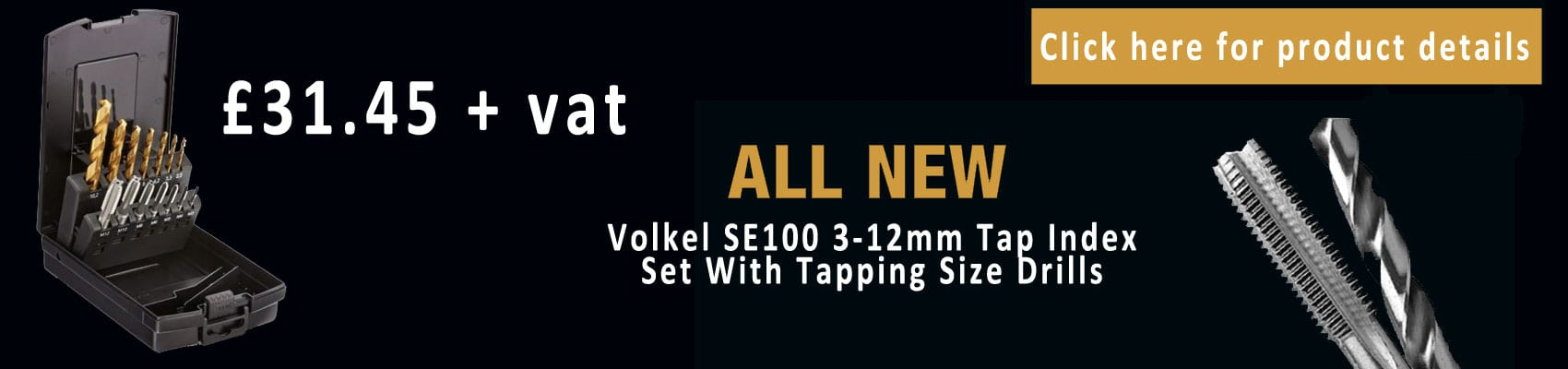 Volkel SE100 3-12mm Tap Index Set With Tapping Size Drills